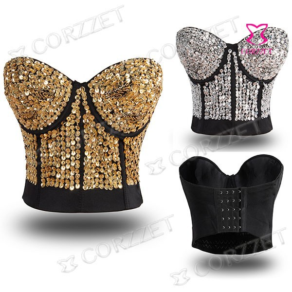 Sequins and Beads Studded Sexy Brassiere Push Up Bra Top Non-slip Dance Party ClubWear