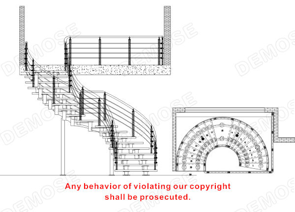 Bamboo Staircase Glass Spiral Staircase Decorative