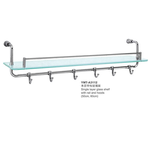 Wall Mounted Gl Shelf With Towel Bar Hooks