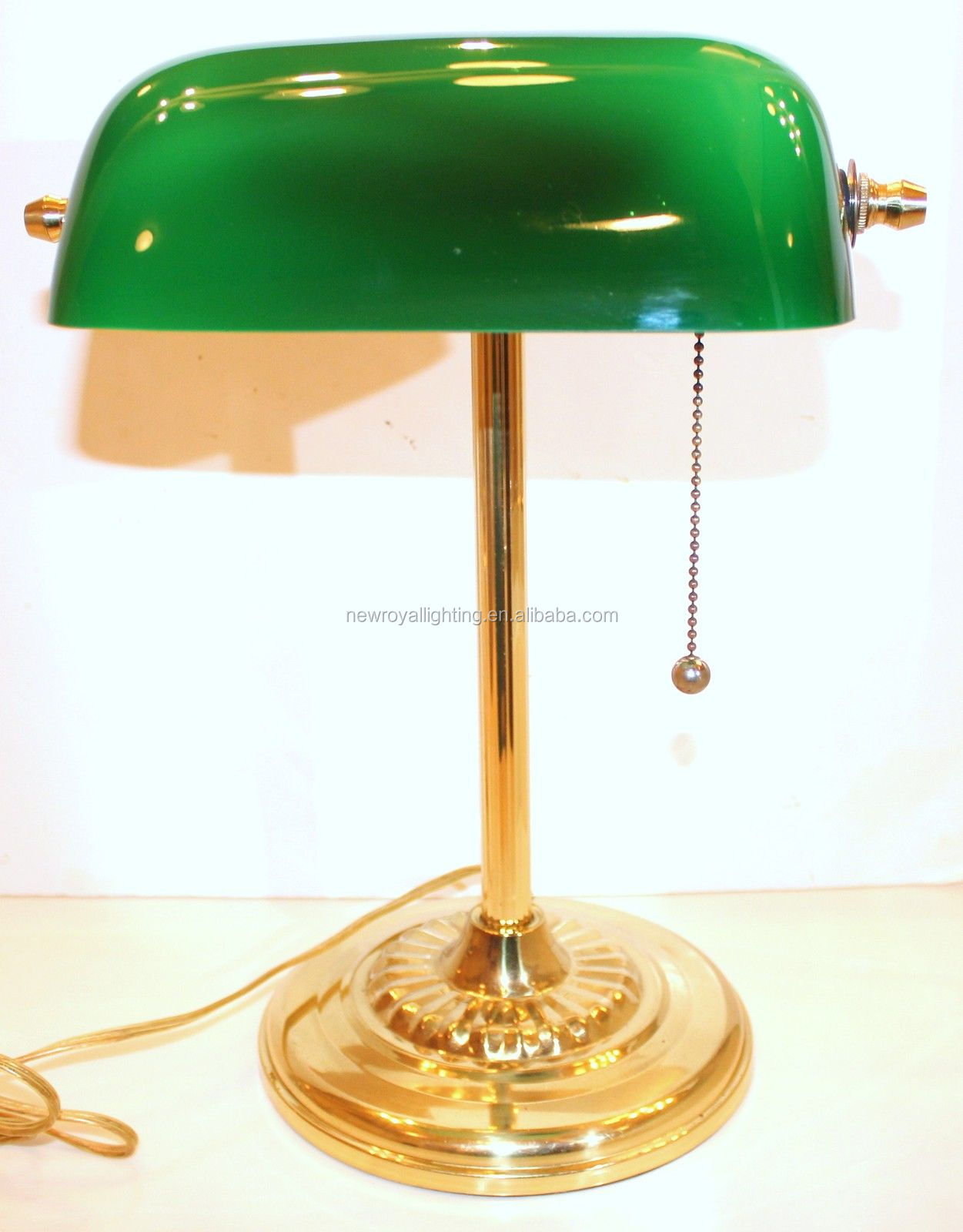 Table Lamp Emerald Green Glass Solid Brass Stand Vintage,Wholesale ...