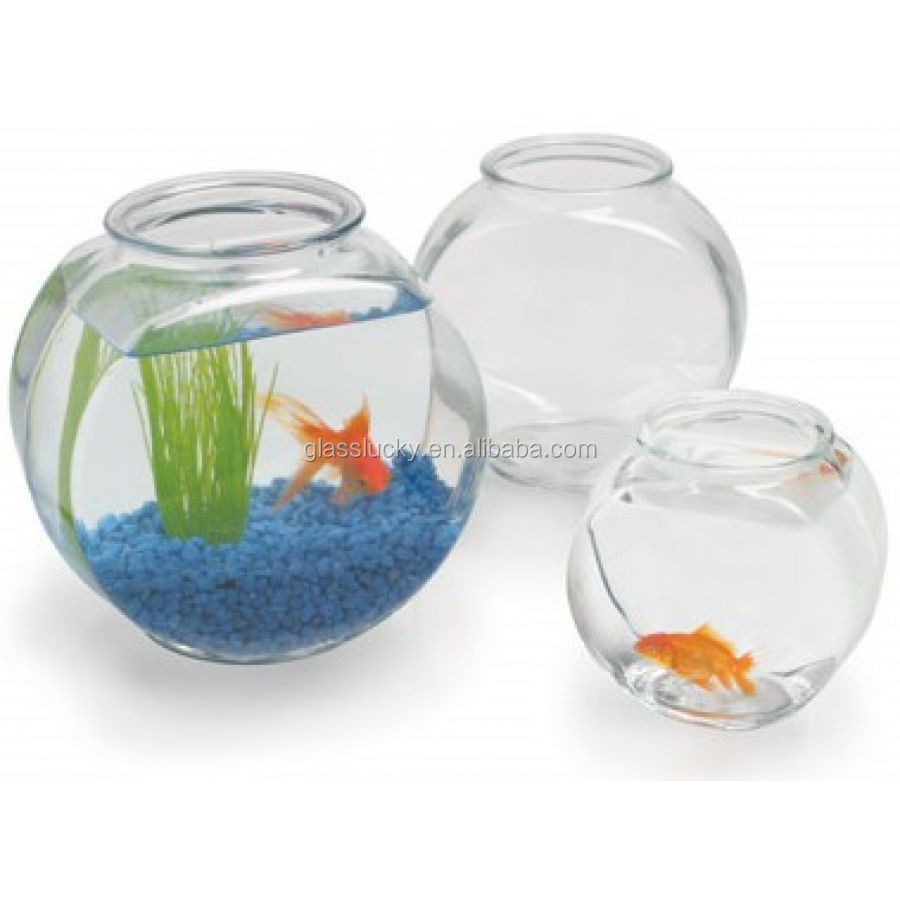 Clear glass drum side fish tank colored wholesale glass for Fish bowl cups