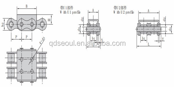 12b-u2 Pitch 19.05 Iso Standard U Type Conveyor Duplex Roller ...