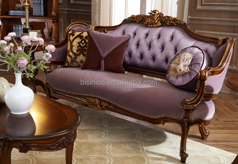 Elegant Wing Back Design Sofa Set, Wood Carving And Painted Living Room Sofa,  British
