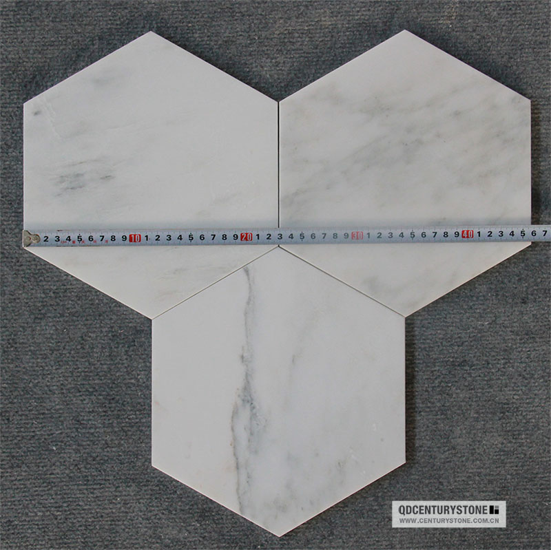 Shower Tile Italian Marble Mosaic White Hexagon For Floor
