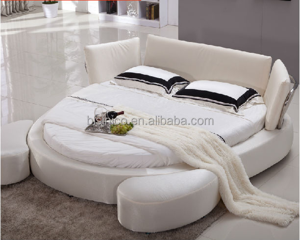 modern simple white fabric round bed double bed bed room. Black Bedroom Furniture Sets. Home Design Ideas