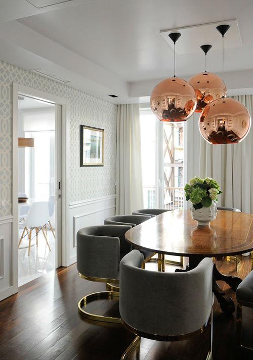 Modern Copper Glass Pendant Lighting Chrome Gold Color Lights ...