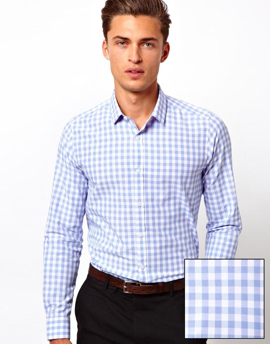 New Men Shirt In Long Sleeve With Plaidscotton Fabric Mens Dress