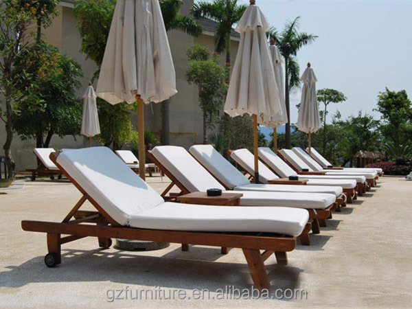 Garden Sun Lounger Recliner Steamer Chair Wooden U0026 Cushion