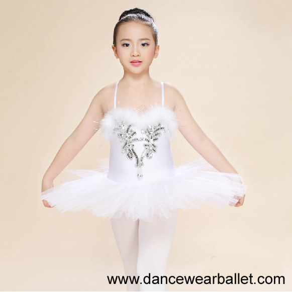 44de97f30 ... Children Fairy Princess Swan Lake Feather Sequin Dance Ballet Costumes  Tutu