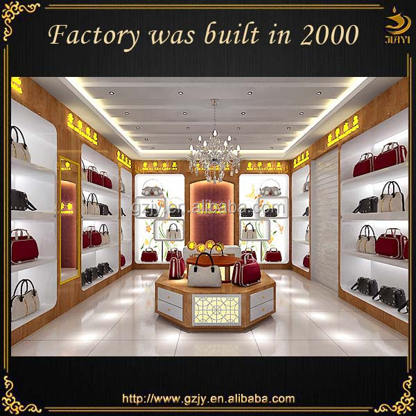Fashion modern high quality bags shop interior design with bag display  showcase and display cabinet