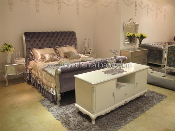 Yb07 High End Teak Wood Italian Antique White Bedroom Furniture