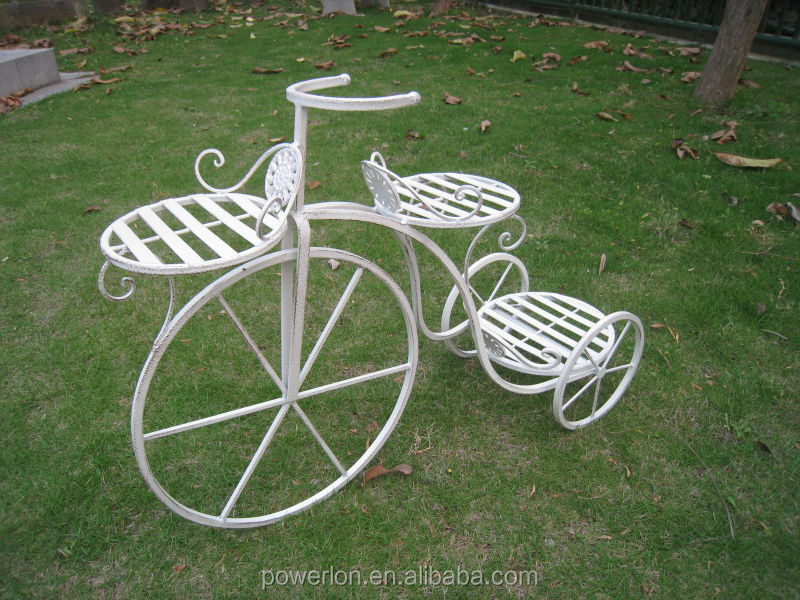 Metal tricycle bicycle planter holder stand patio garden oasis outdoor buy metal tricycle - Bicycle planter stand ...