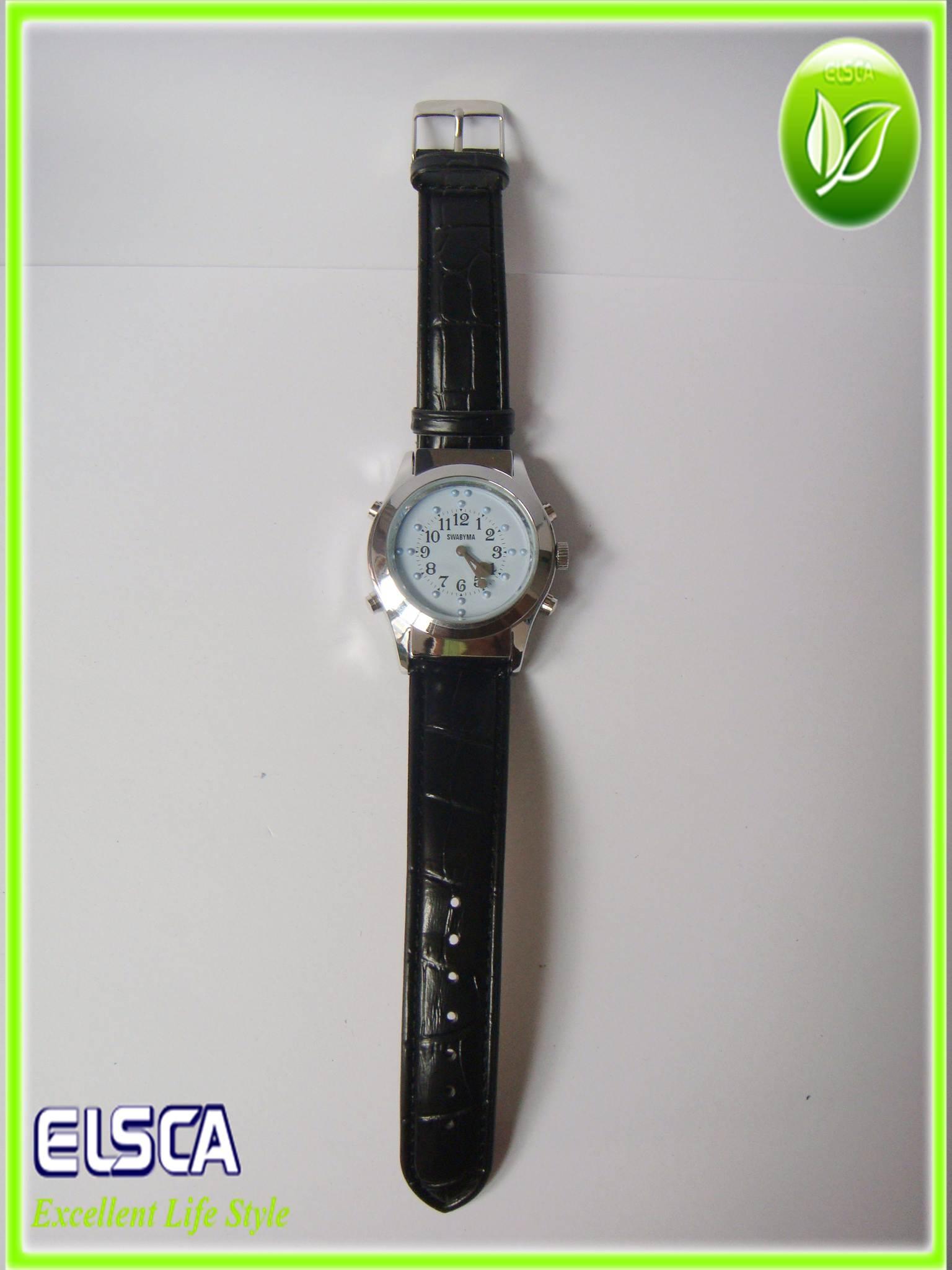 Leather Quartz Braille Watch 2 In 1 Blind Watch Braille Talking