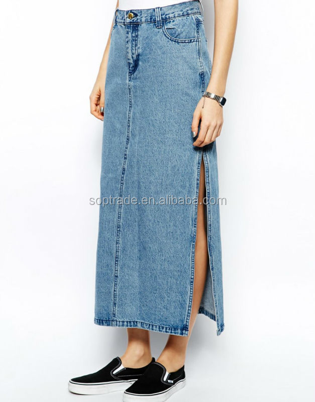 New style ladies slim fit long a-line skirt denim manufacturer