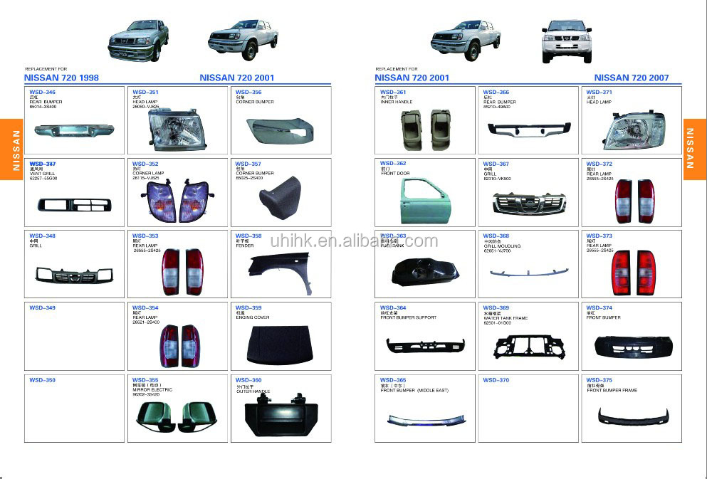 Pickup Body Parts Bumpers Grille Lamps Mirror Corner