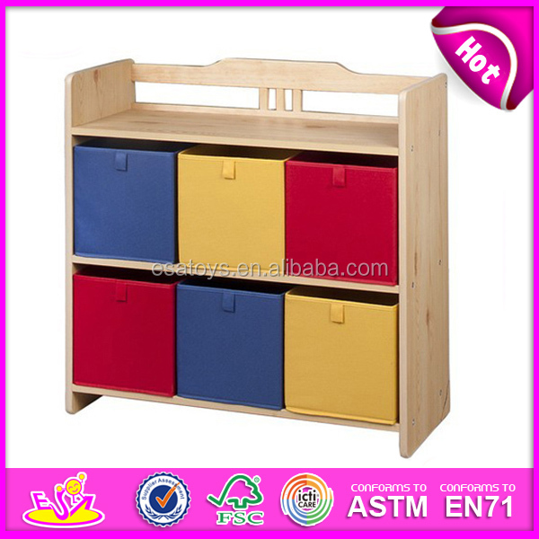 2015 New And Popular Design Wooden Toy Organizer For Kids With 5 Plastic  Bins, 2
