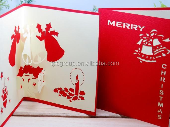 Popular design christmas card handmade pop up 3d christmas for 3d xmas cards to make