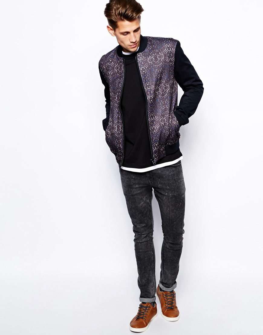 front and back print Bomber jacket/zip men clothing ...