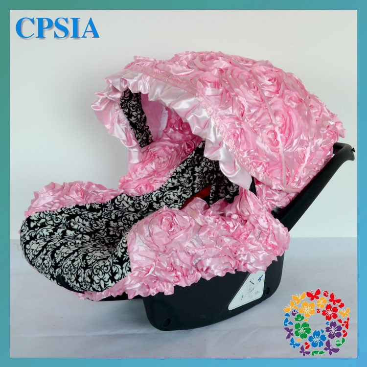 Polka Dot Pink Damask Infant Girl And Boy Baby Car Seat Cover Canopy ...