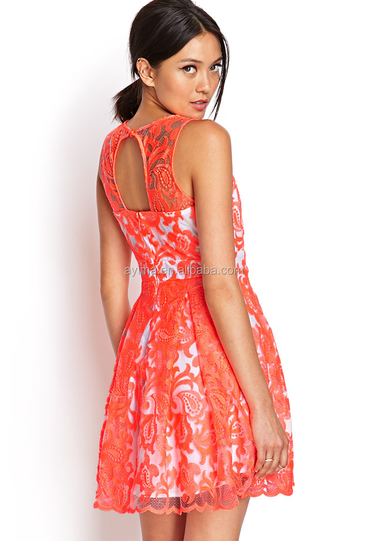 Latest Fashion Neon Embroidered Paisley Pattern And Pleated Flare Dress Womens Lace Patterns