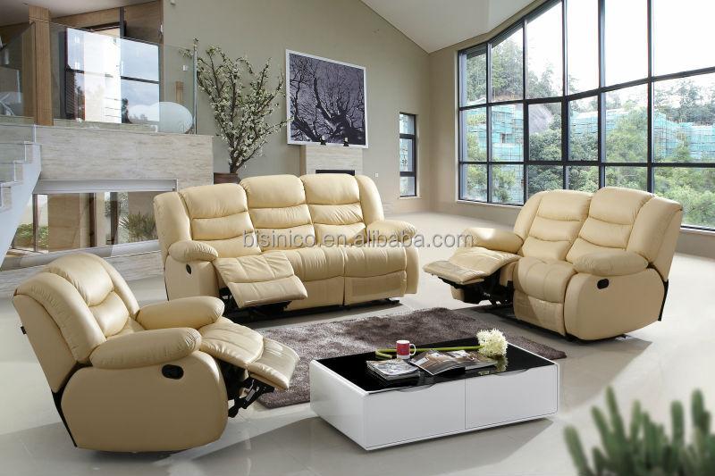 Genuine Leather Beige Recliner Sofa Set Modern Living Room