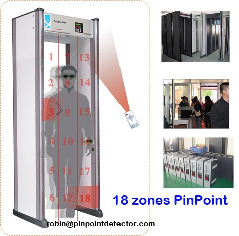 Pinpoint factory hot sale cheap multi zone walk through metal detector/door frame archway metal detector/metal checkpoint gate