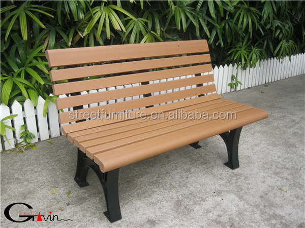 Weather Resistant Outdoor Bench,recycled Plastic Benches,metal Leg Garden  Bench