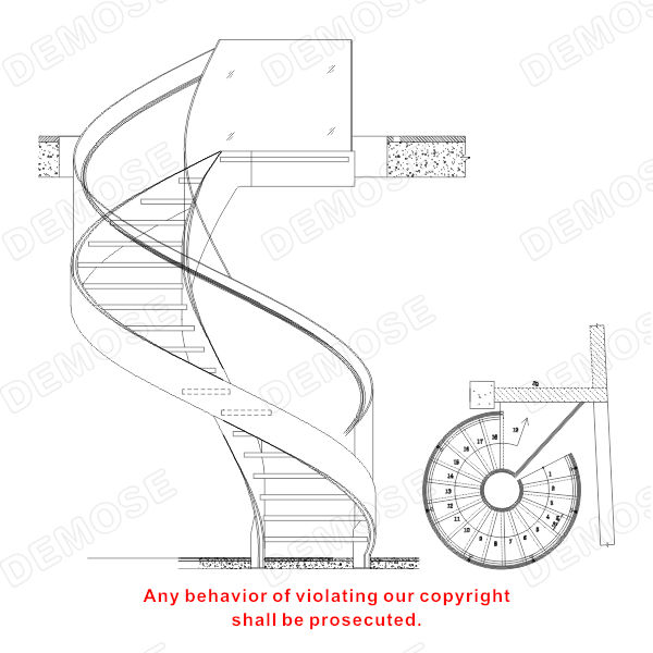 Space saving small spiral stairs buy stainless steel for Spiral stair cad