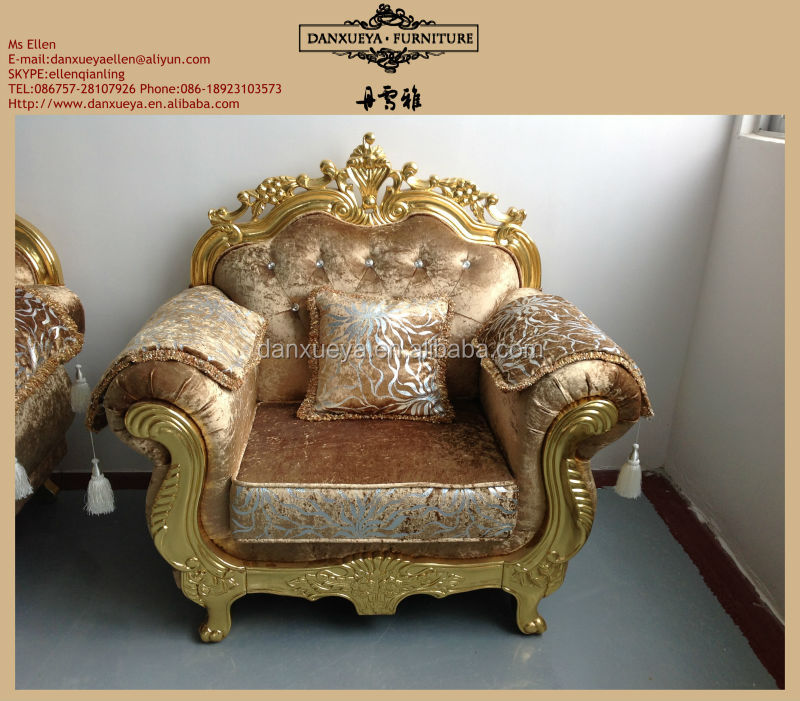 Gold Leaf Furniture Sofa With Fabric And Crystal Design 3048C#