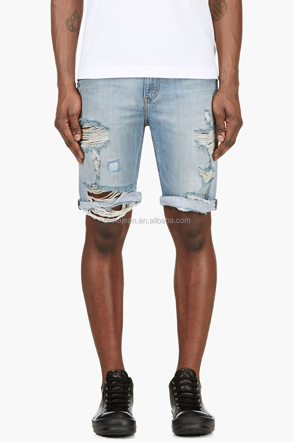 2015 Fashion New Destroyed Jeans Shorts Men Blue Denim Hot Shorts ...