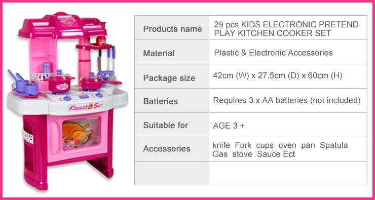 29 pcs electronic childrens kids kitchen cooking role play for Kitchen set name