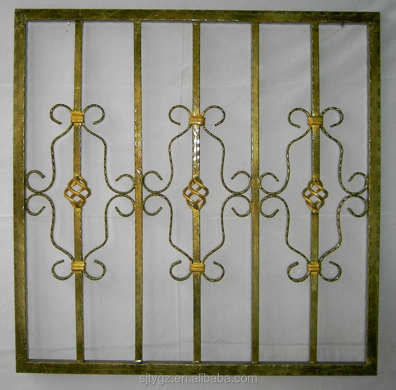 Modern style wrought iron window grill design buy design for Iron window design house