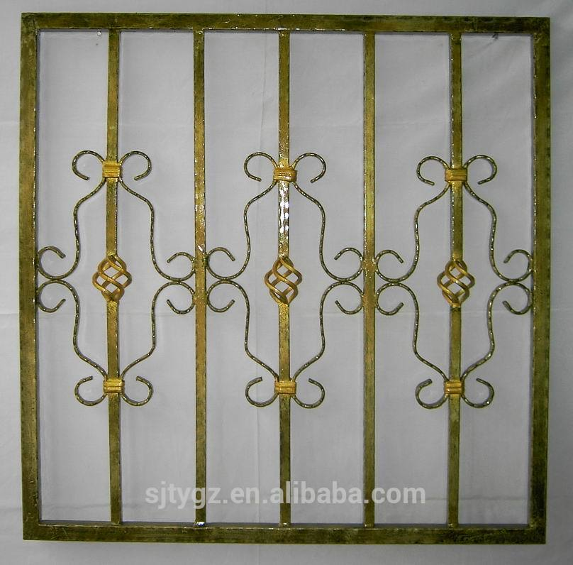 Modern style wrought iron window grill design buy design for Metal window designs