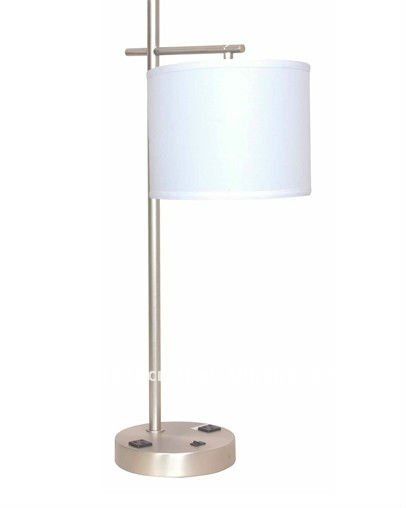 Usa Five Star Hotel Bule Poly Table Lamp Desk With Usb And Outlet