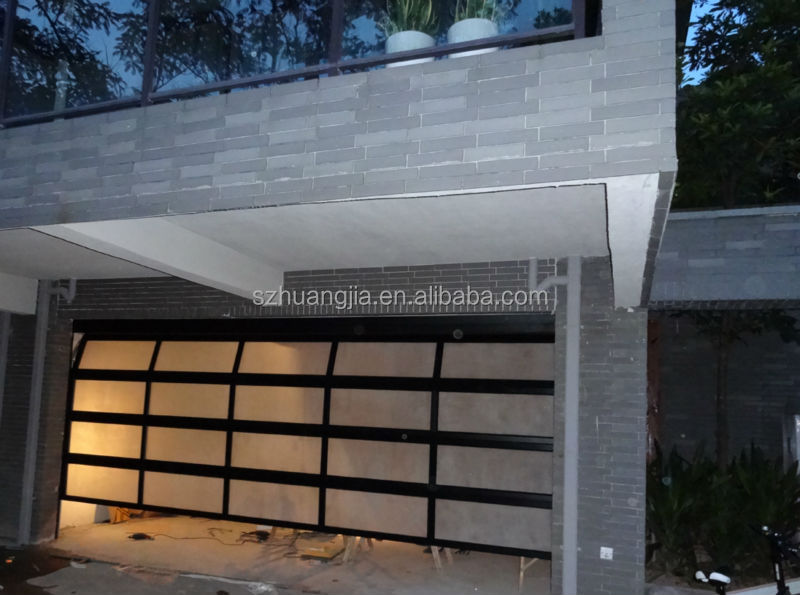 Modern Contemporary Full View Frosted Glass Garage Doors
