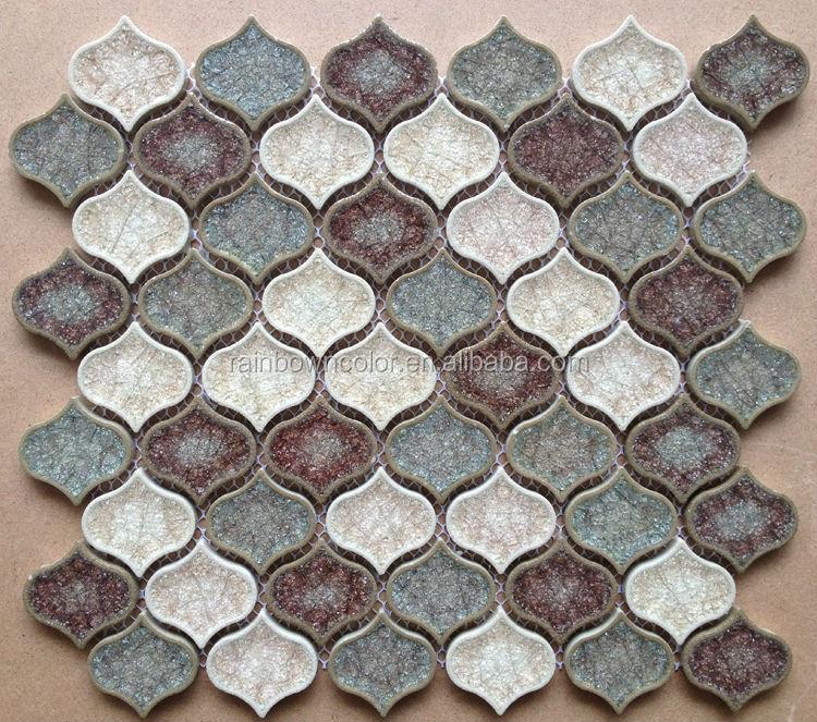 ice crackle glass mosaic tile for lantern shape mix color tile(A086)