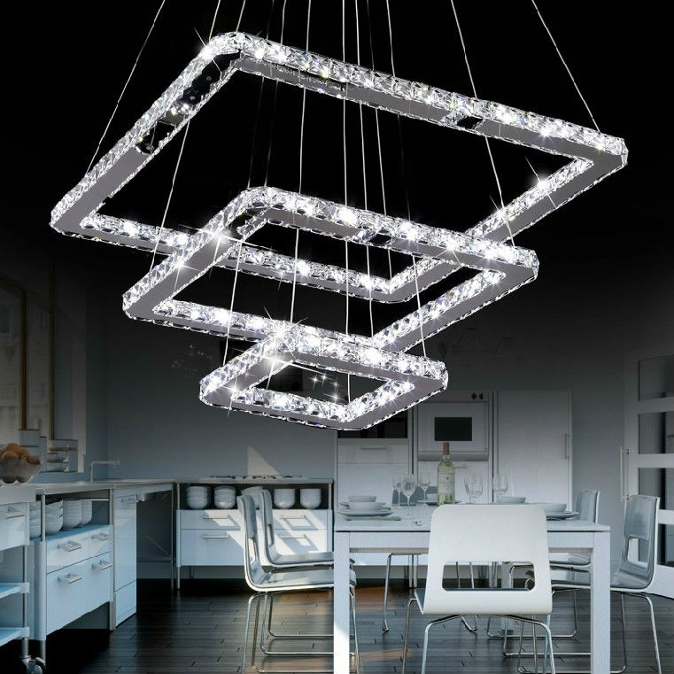 Square Modern Crystal Chandelier For Living Room Dining