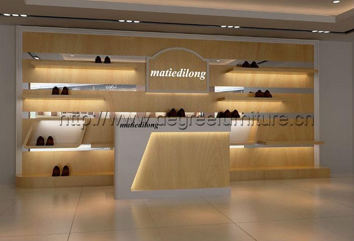 Fashion New Wood Shoes Shop Interior Design Decoration