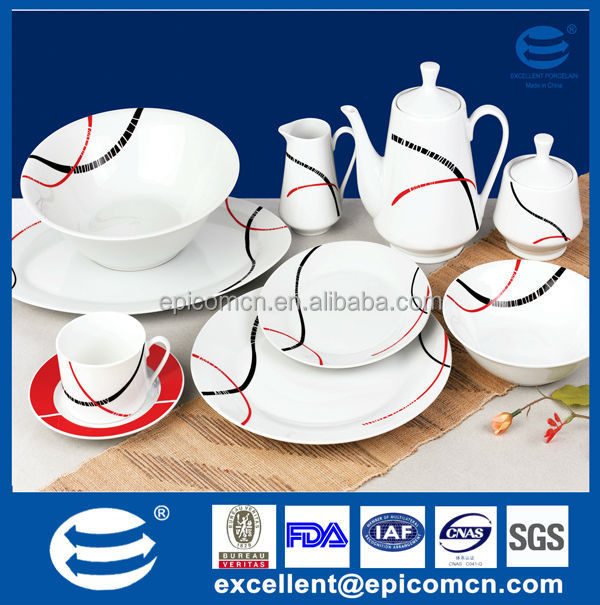 20pcs super white good porcelain dinnerware set square patterned red and black line in nice color  sc 1 st  Alibaba & 20pcs Super White Good Porcelain Dinnerware Set Square Patterned Red ...