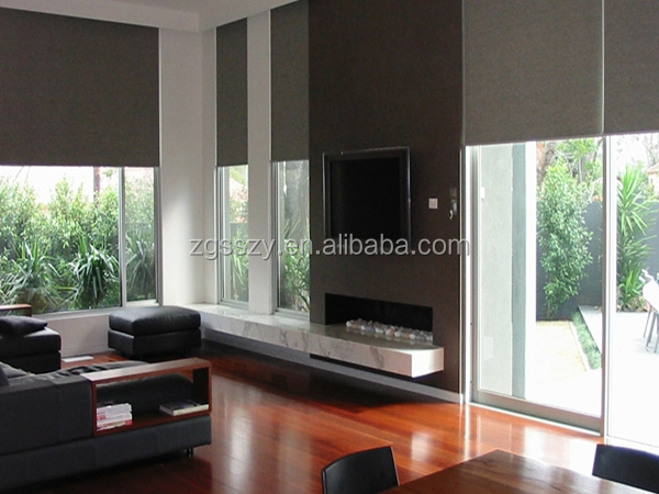 special custom window size roll down shades with motor blackout roll down