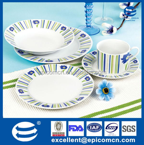 non-toxic flower design blue rim pattern 20pcs round porcelain dinner set for daily use  sc 1 st  Alibaba & Non-toxic Flower Design Blue Rim Pattern 20pcs Round Porcelain ...