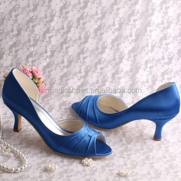 Ladies Low Heel Dress Wedding Shoes Blue Satin