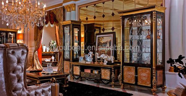 Italy New Design Luxury Golden Living Room Glass Showcase - Golden living room