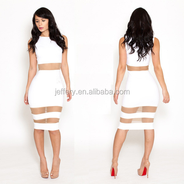 Lady Fashion Bodycon Mesh Hollow Out Club Sexy White Dresses ...