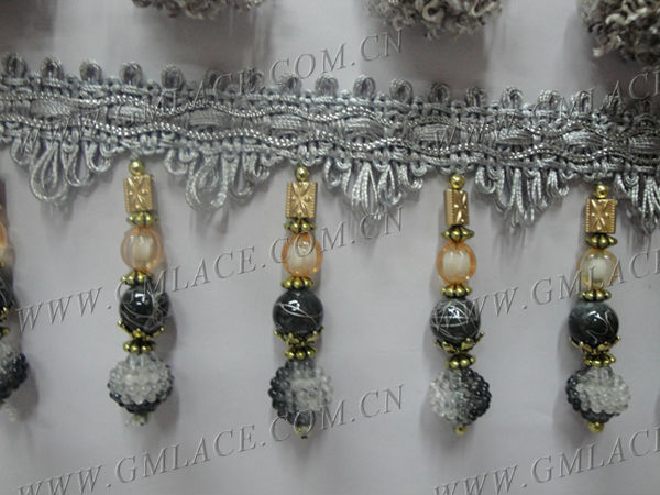 Plastic Beaded Fringe Trimming With Round Flock Beads For Curtain ...