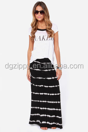 Latest Style Ladies Fashion Long Maxi Skirts/white Horizontal ...