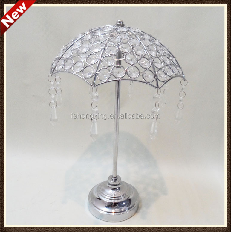 Elegant Mini Silver Crystal Umbrella Flower Stands Centerpieces For Wedding Table  Top Decoration