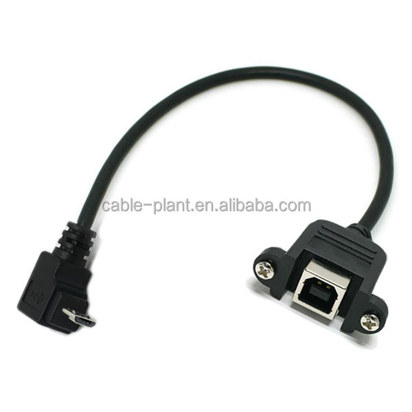 Right Angle Micro Usb To Usb B Female Panel Mount Cable