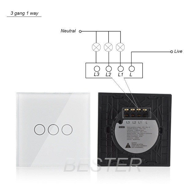 HT1i7sSFSVXXXagOFbXV capacitive touch switch,smart home touch light wall switch (3 gang 3-Way Wiring Diagram Multiple Lights at gsmx.co