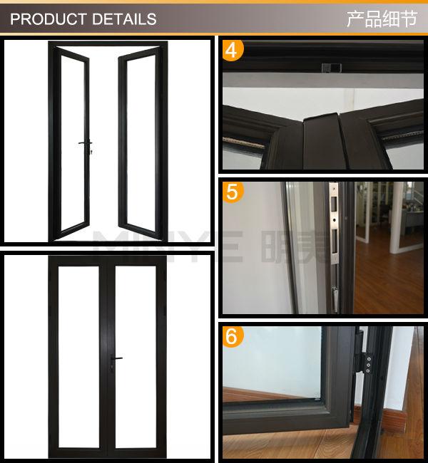 Aluminum Frame Bathroom Door Interior Glass Door With Door Casing